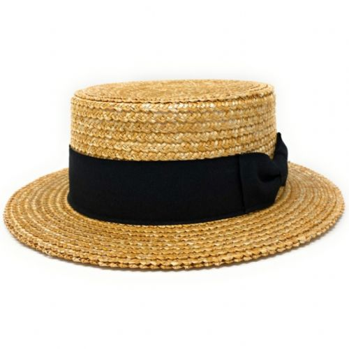 Traditional Wheat Straw Boater Hat with Black Band
